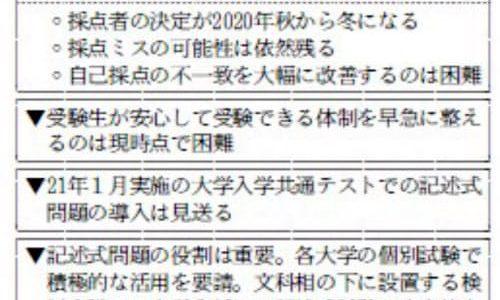 国、数の記述式見送り17日表明(日経速報記事も)