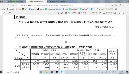 京都府令和2年度 前期選抜等受検者数について